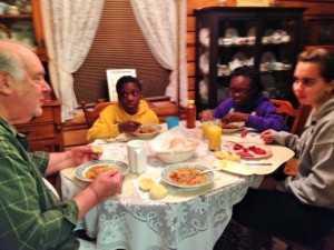 Grandpa and Elmise Ham & cabbage boiled dinner with family