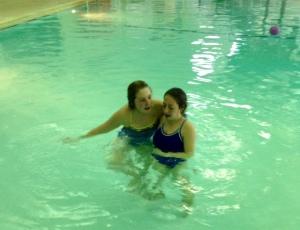 Syd & Bella swimming